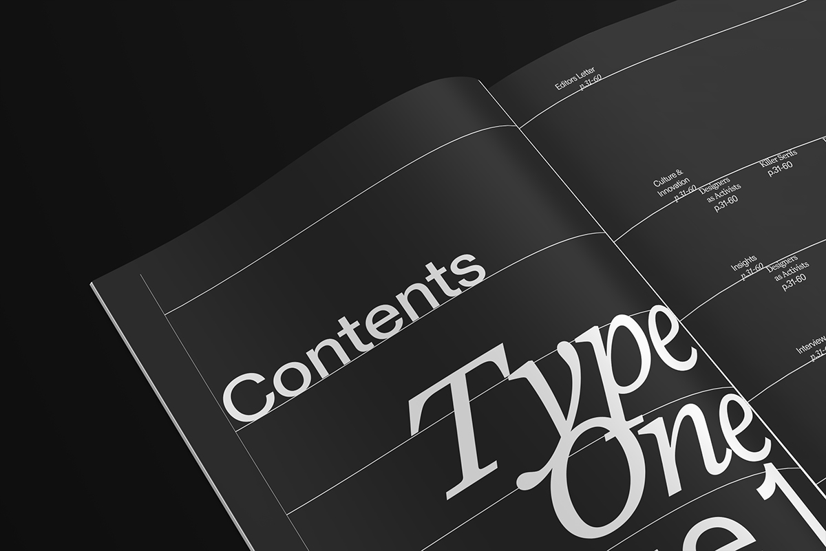 TYPEONE Magazine — Contents Page