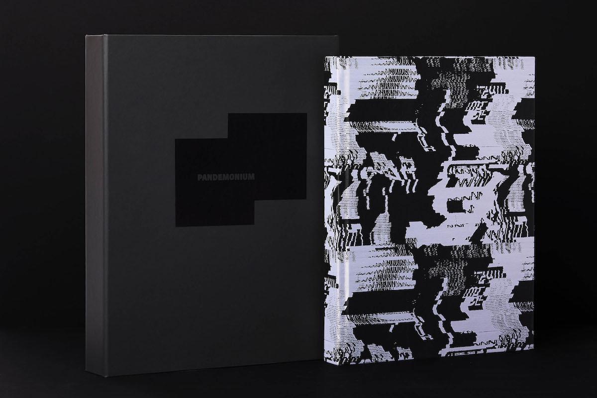 Pandemonium bound in jacquard fabric with typographic print
