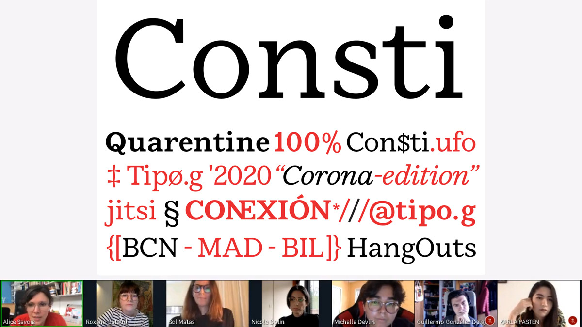 Critique of Consti typeface by Guillermo González at the October 30, 2020 Alphacrit, held as a part of the ATypI 2020 All Over conference exploring the study of type design.