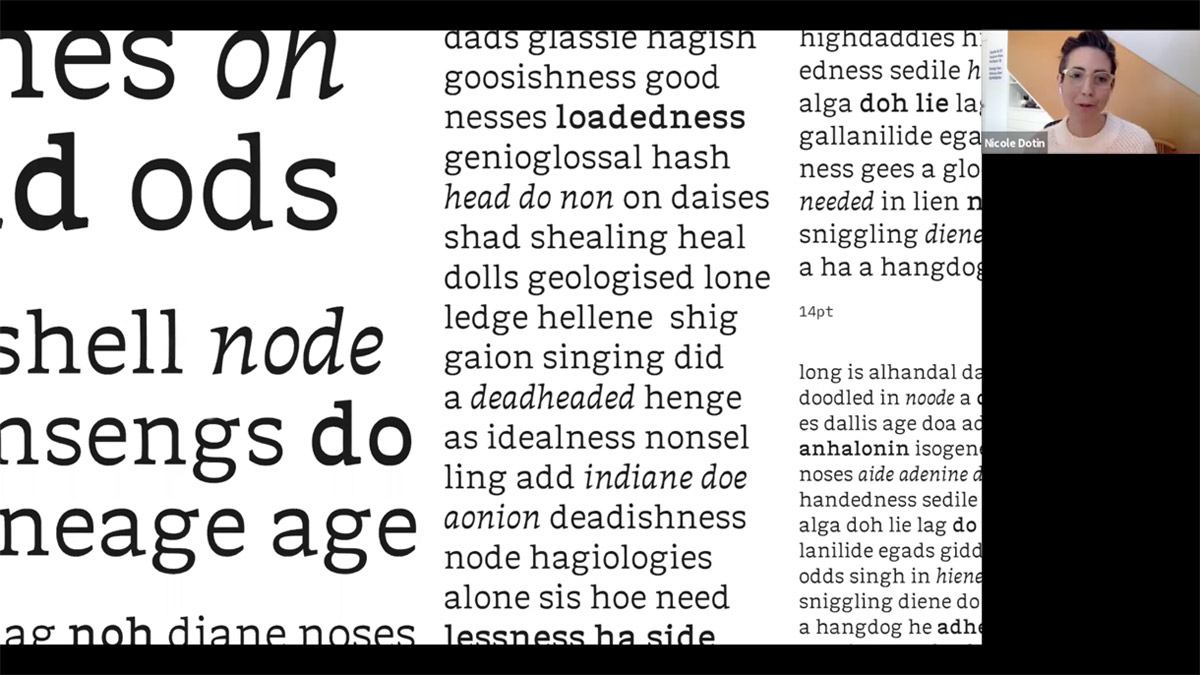 Typeface by Keya Vadgama, which was untitled at the time. Nicole Dotin is giving her feedback during the April 4, 2020 Alphacrit via Zoom. Sol Matas hosted this session.
