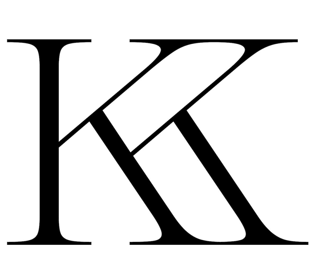 Modern serif font, Decay White 'K'