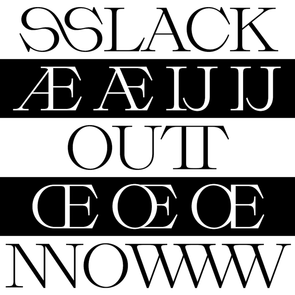 Modern serif font, Slack Light Ligature Display
