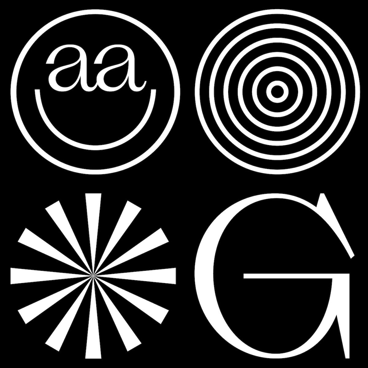 Modern serif font, Slack Light glyph display