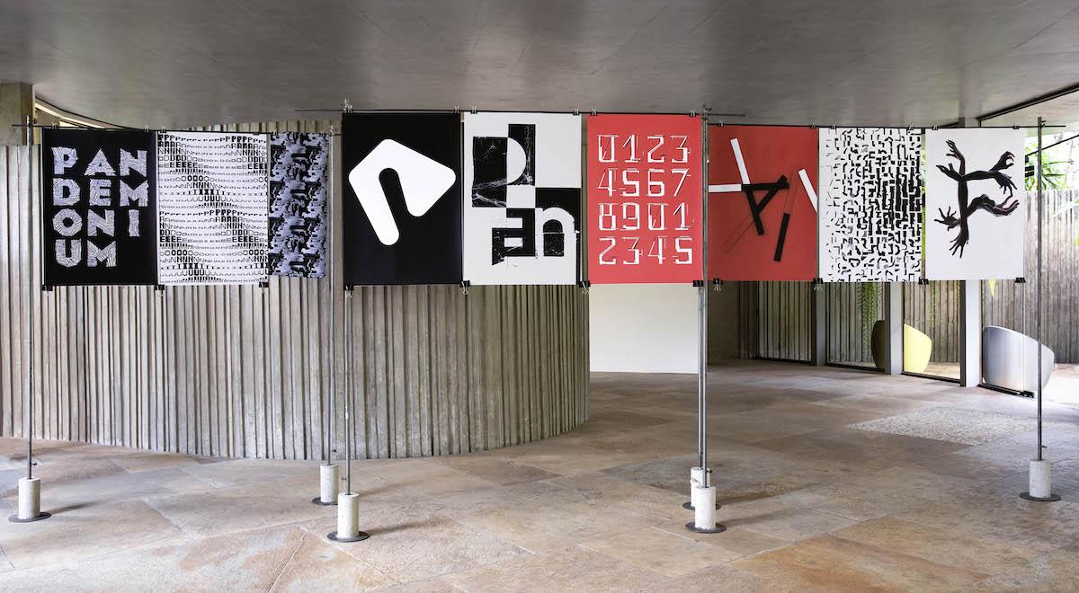 Typographic display of Pandemonium pieces