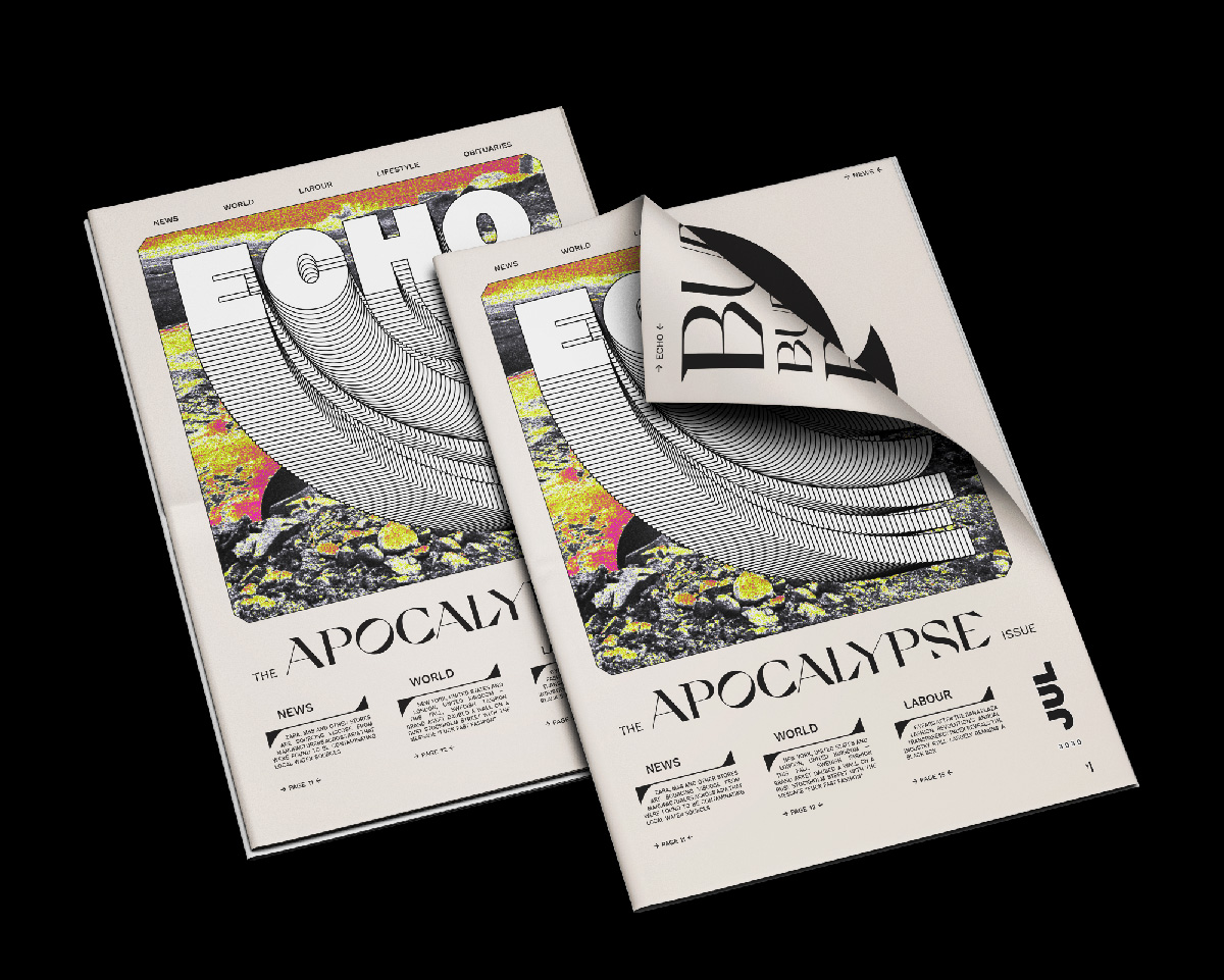 """ECHO Paper Project - Typographic Newspaper Cover Design on the theme of """"Apocalypse"""""""