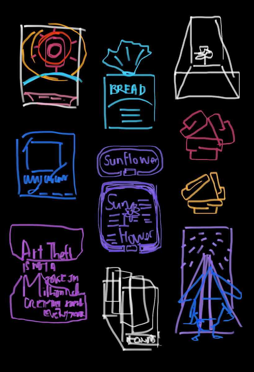 Sketches in Notes App for graphic design ideas