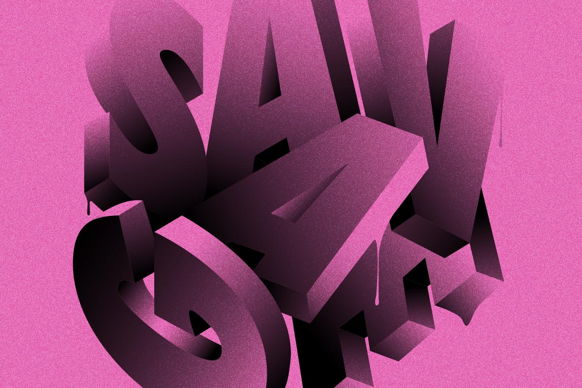 Lettering work by designer, Hust Wilson
