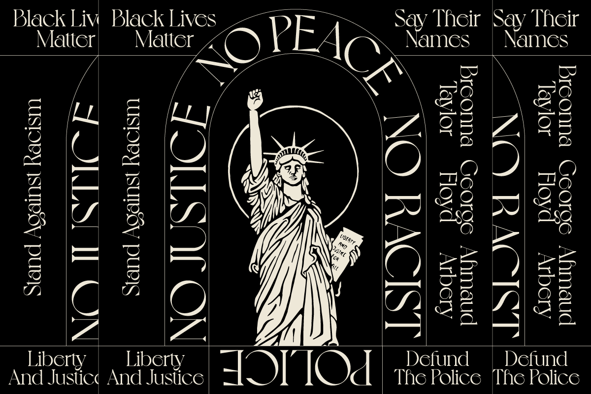 'No justice no peace' typography piece -  Illustration by Biran Groh from @leftsidersworldwide
