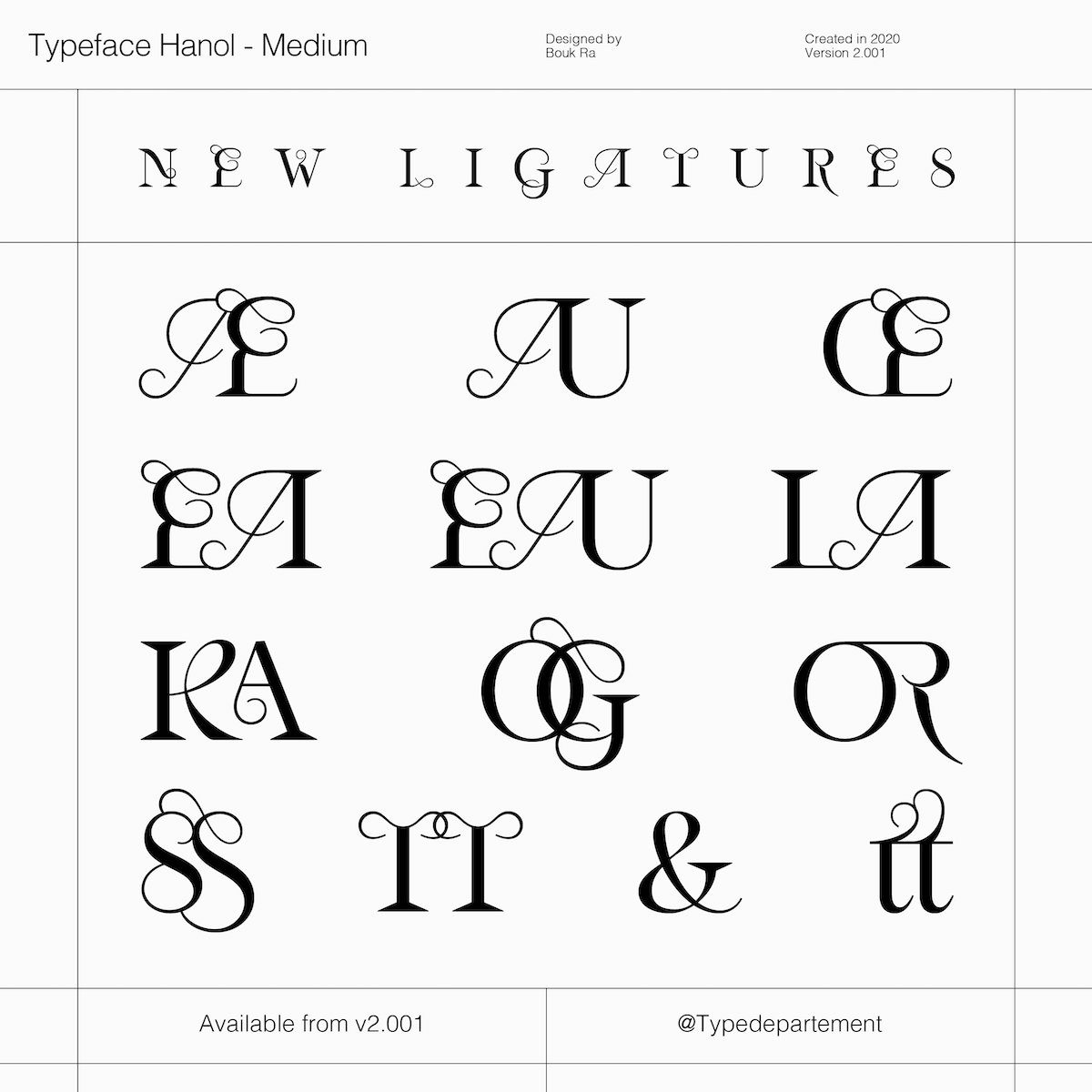 Hanol V.2 Typeface new ligatures