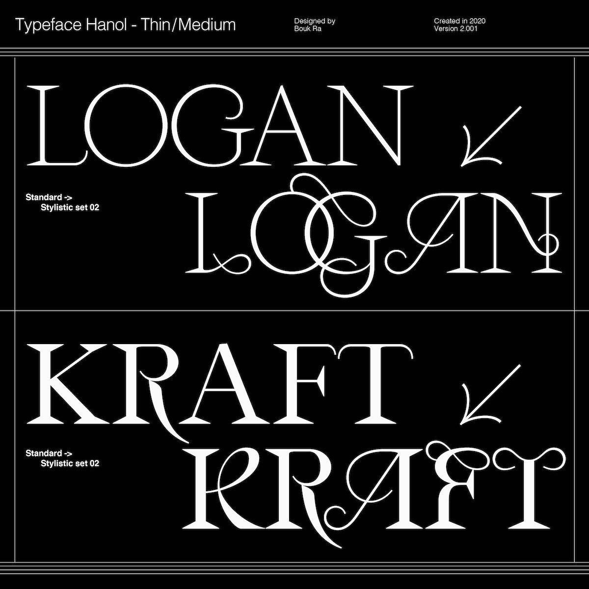 Hanol V.2 Typeface - Thin/Medium weights, stylistic set 02