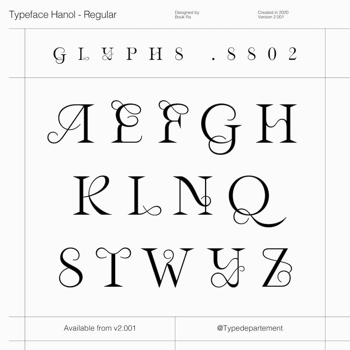 Hanol V.2 Typeface Redesigned Glyphs