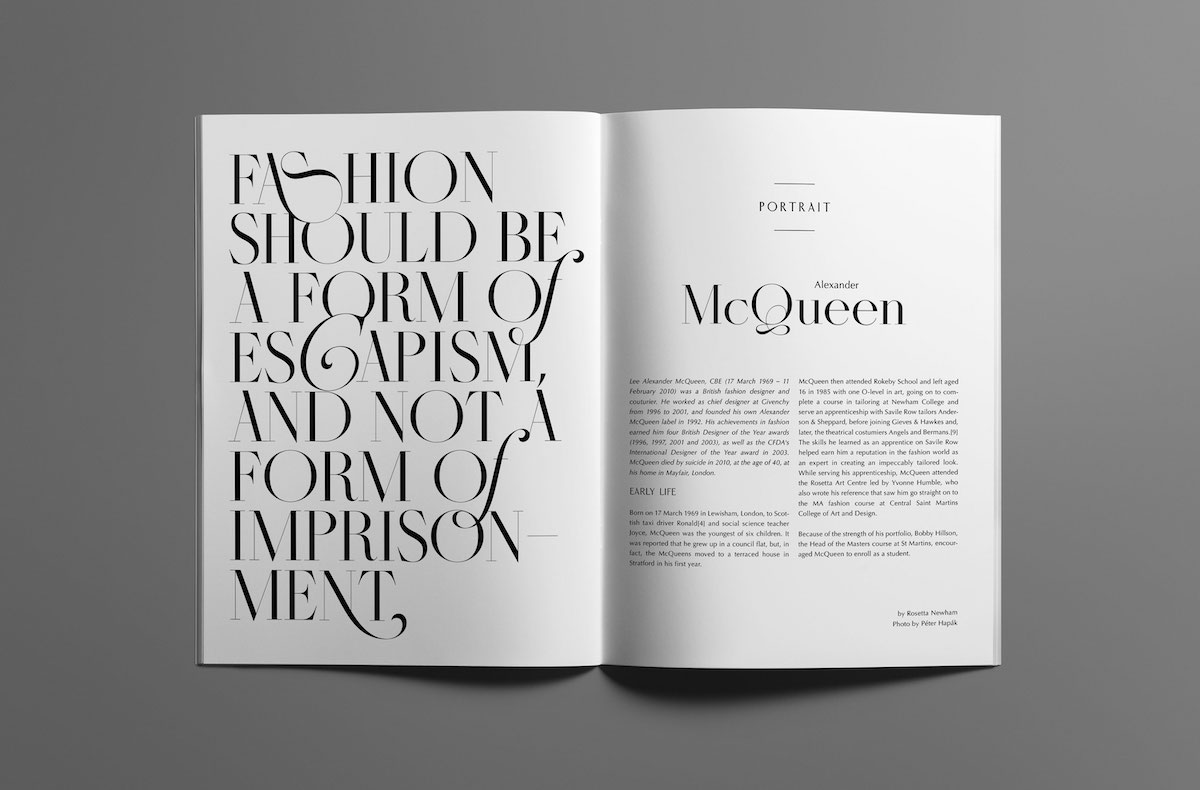 """""""Fashion should be a form of escapism and not a form of imprisonment"""" - Alexander McQueen quote in Masque hairline typeface with ligatures"""