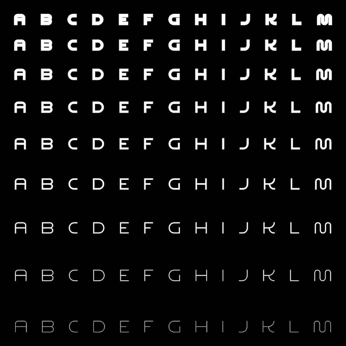 Night Variable Display Font - 9 Weight styles