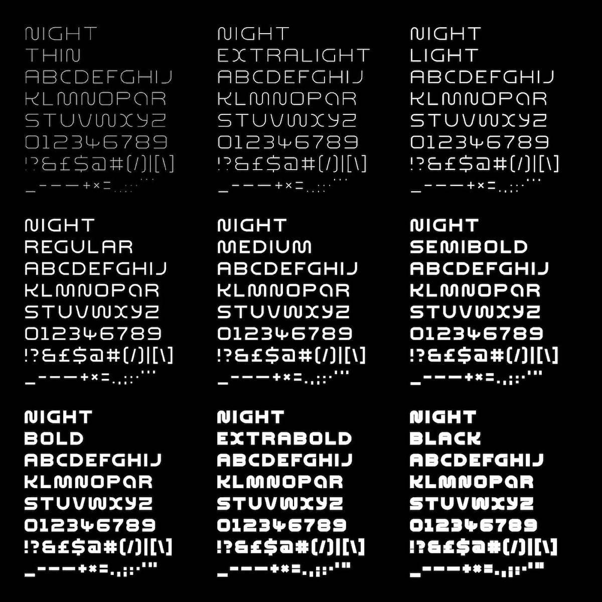 Night Variable Display Font - Nine Weights