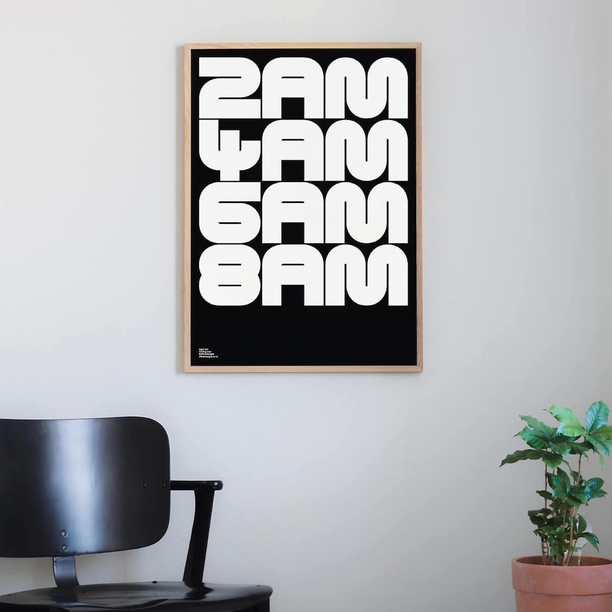 Night Variable Display Font Poster