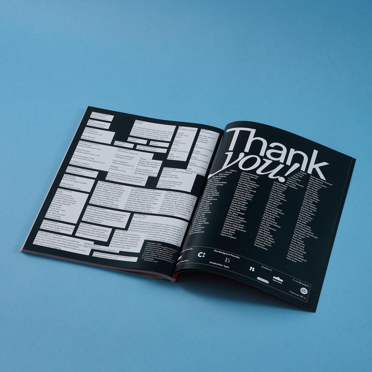 TYPEONE Magazine spreads