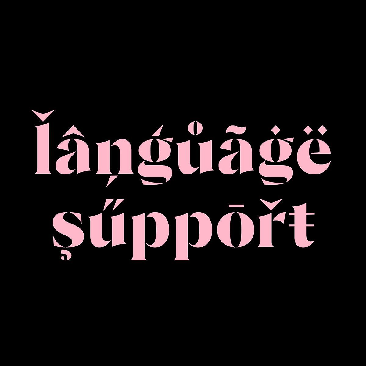 Céline stencil display typeface, language support