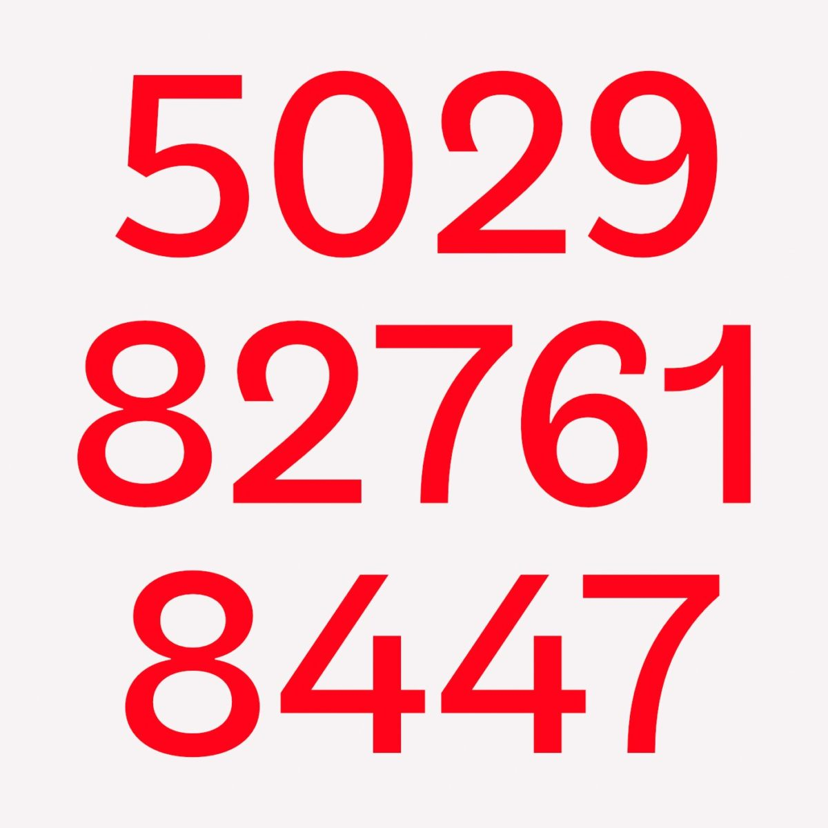 Sans serif grotesque typeface, TG Glifko, numbers.