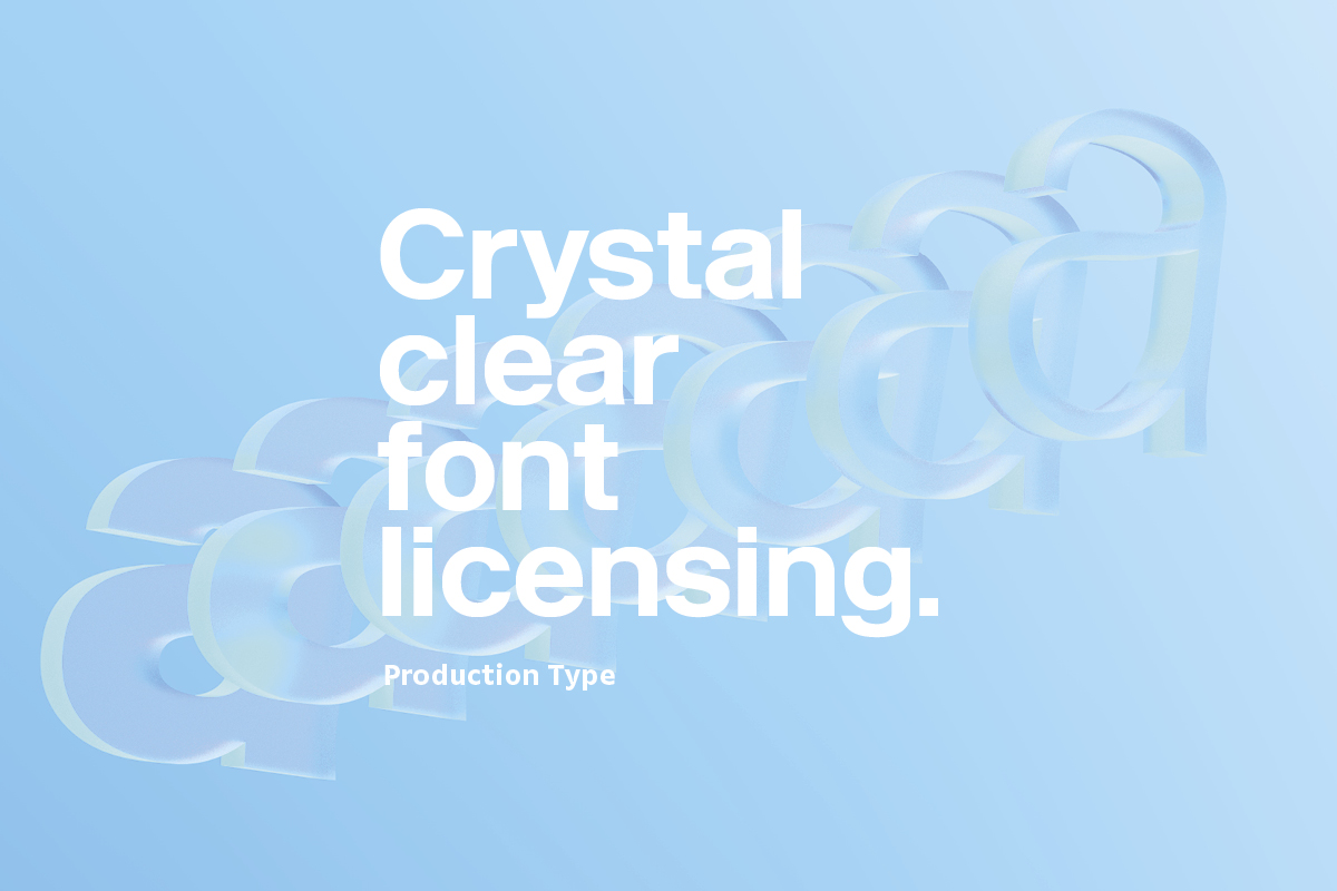 Graphic reading 'Crystal clear font licensing'