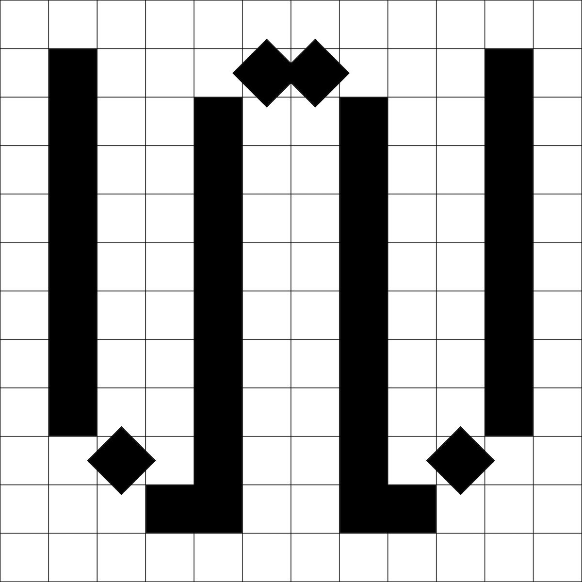 Analo Grotesk pixel font 'w'