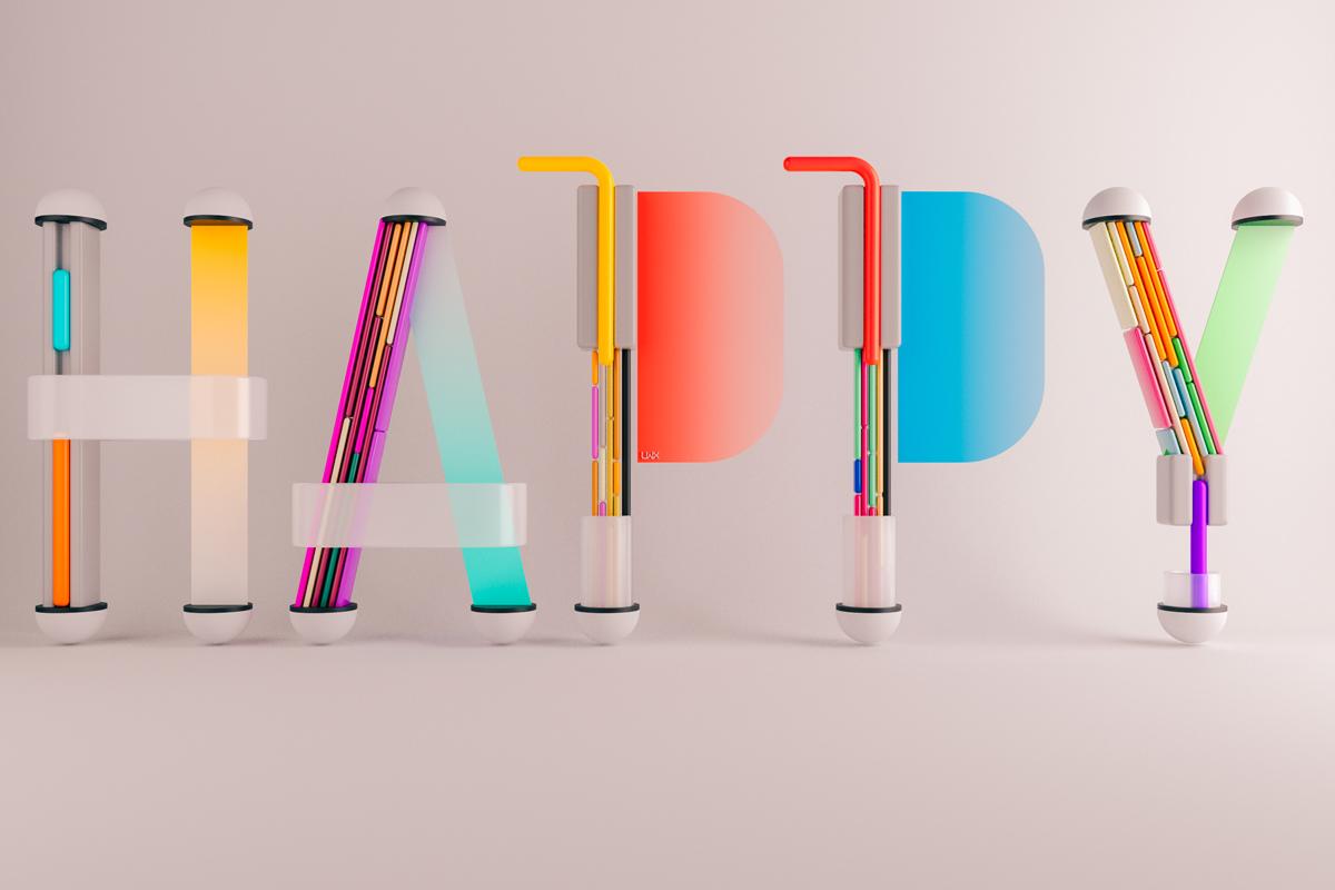 'Happy' 3D Type