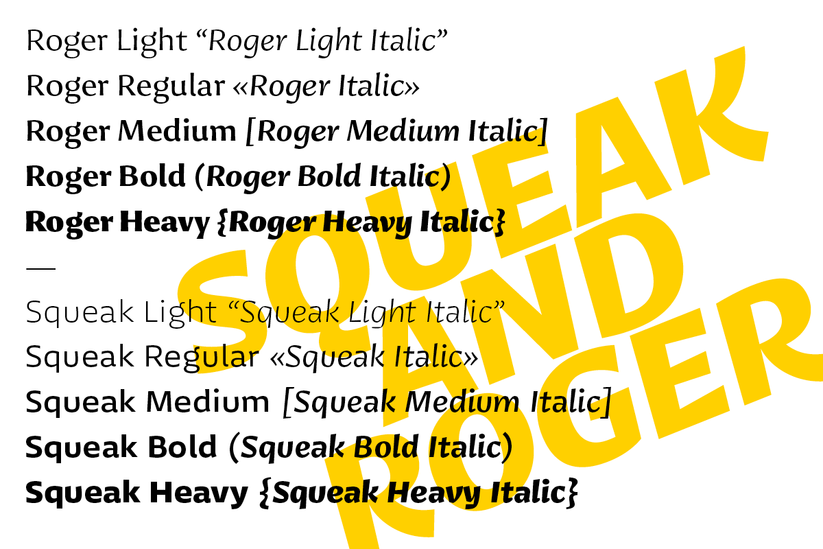 Squeak and Roger typeface by Radek Łukasiewicz