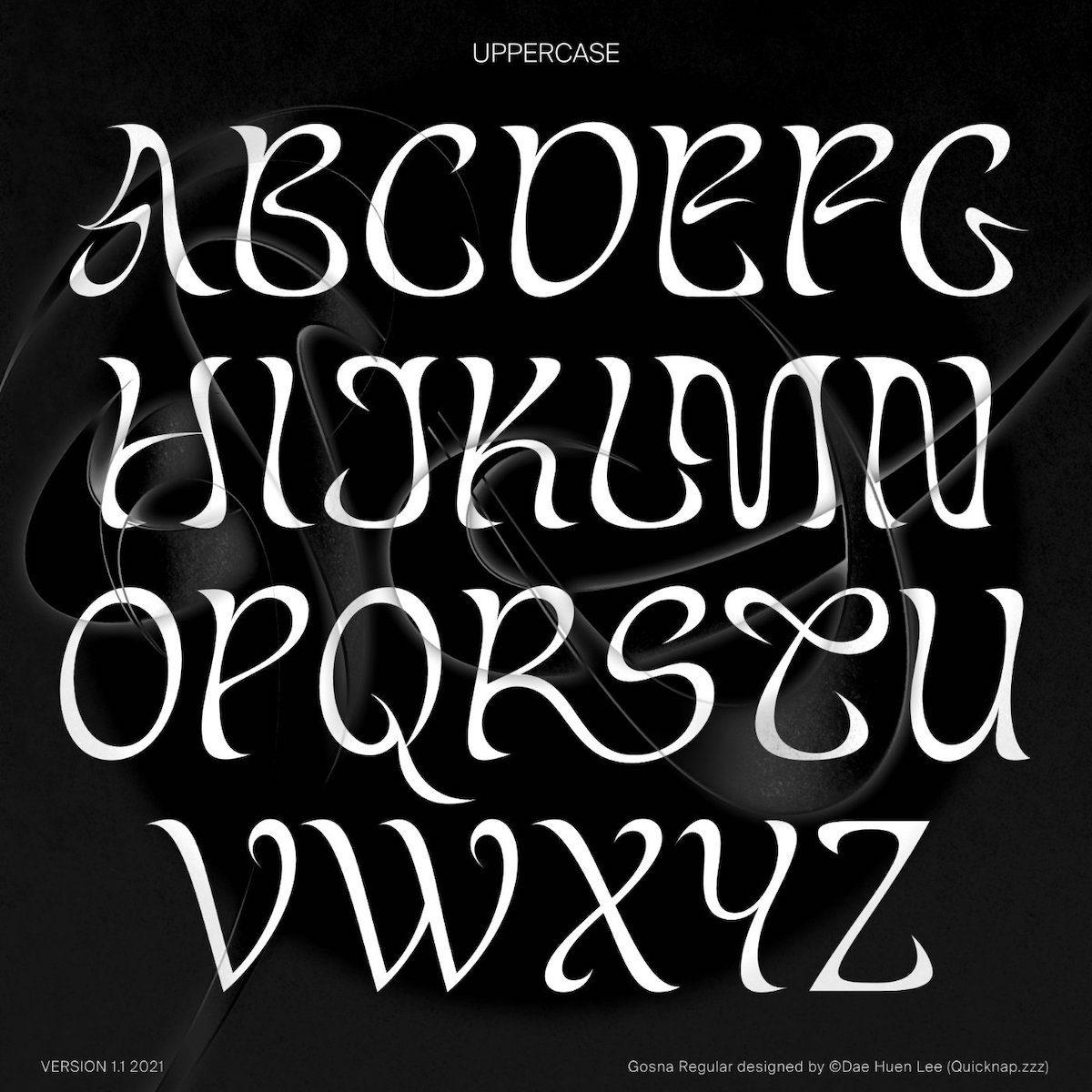 Gosna display typeface uppercase