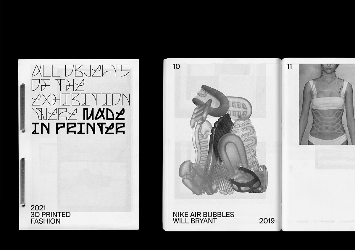 MADE IN PRINTER custom font & exhibition design, booklet
