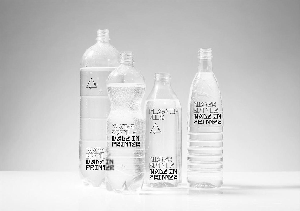 MADE IN PRINTER custom font & exhibition design, water bottle merch