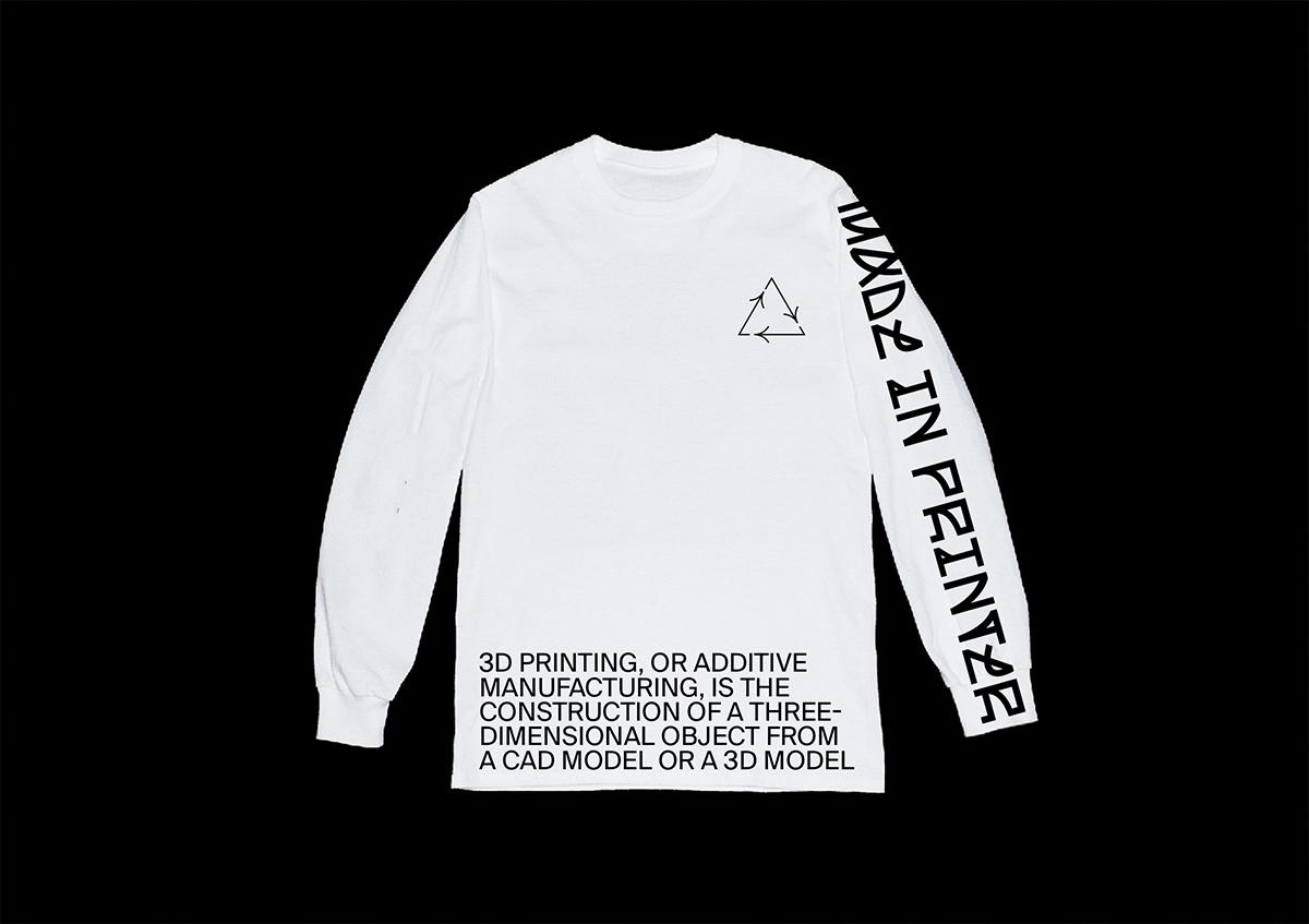 MADE IN PRINTER custom font & exhibition design, t shirt merch