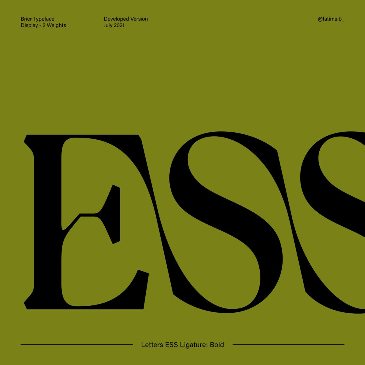 Brier typeface by Fatima Abbas – ESS Bold Ligature