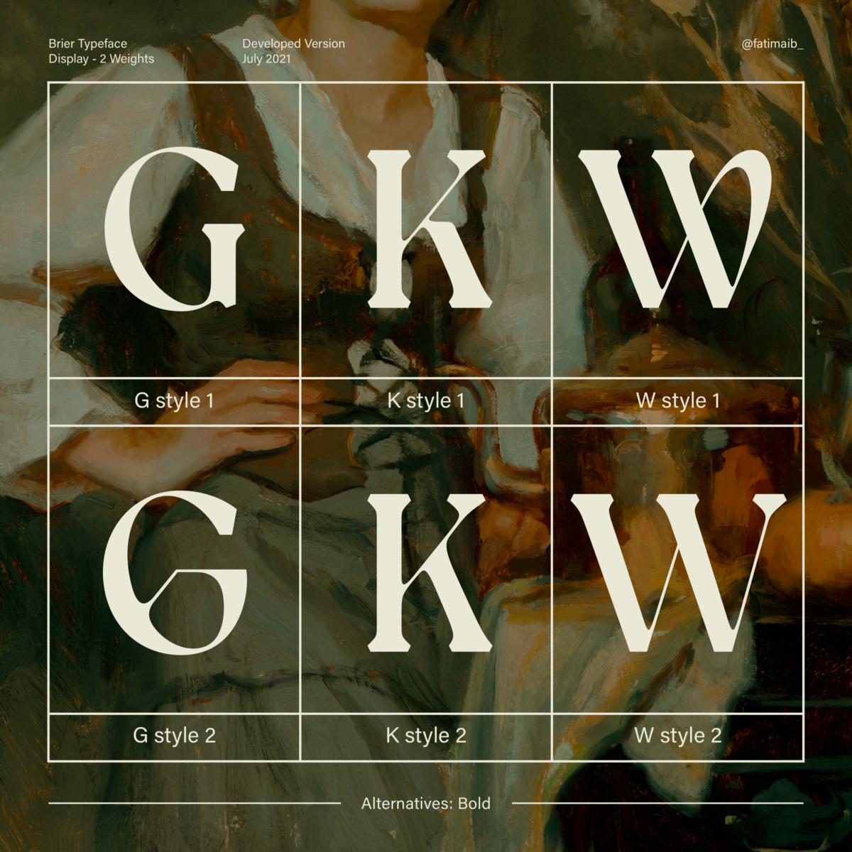 Brier typeface by Fatima Abbas – Alternates
